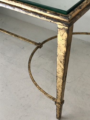 20th century - Coffee table in gilded wrought iron