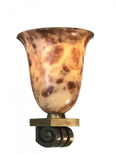 A pair of alabaster wall lightening vase