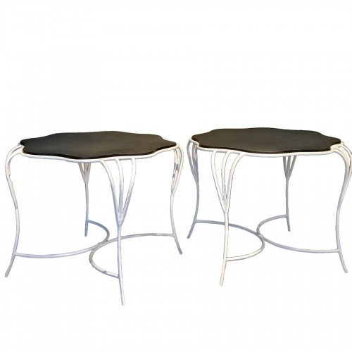 Pair of wrought iron tables