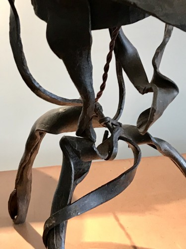20th century - Sculpture lamp in wrought iron