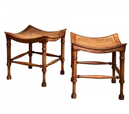 Pair of neo-egyptian stools.