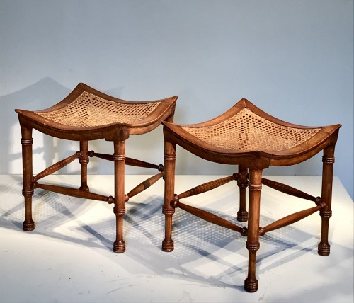 Seating  - Pair of neo-egyptian stools.