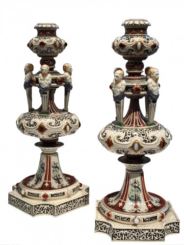 Pair of Worcester candelabra
