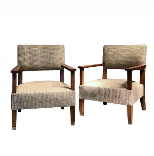 Paire de fauteuils en chêne 1930 - André Devêche