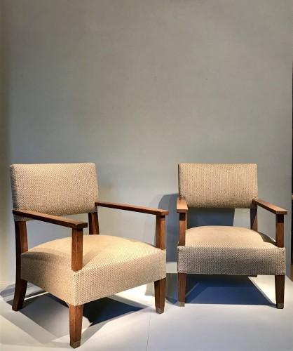 Paire de fauteuils en chêne 1930 - André Devêche - Art Déco