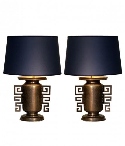 Pair of vases mounted in lamp