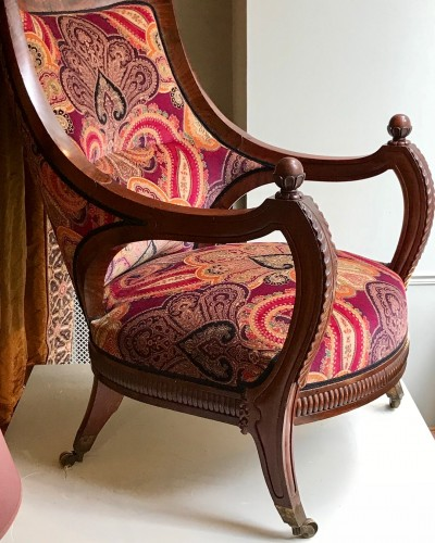 19th century - 19th Comfortable mahogany armchair