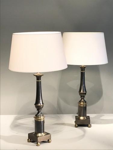 20th century - Pair of metal lamps