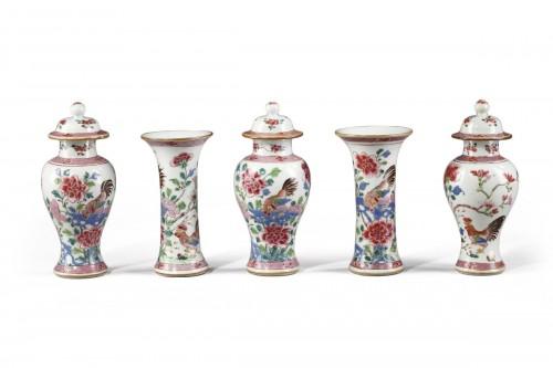 "Garniture vases ""famille rose"" -Qianlong 1736 1795"