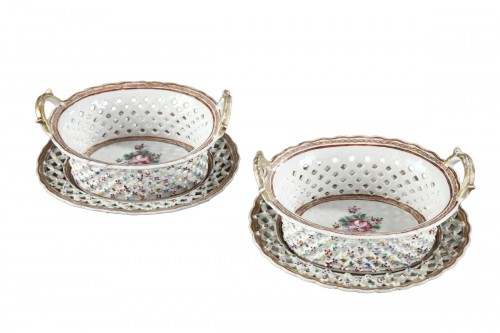 "Pair of Baskets and stands Chinese Export ""Famille rose"" porcelain - 18th"