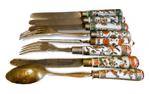 "Set of chinese ""Famille Verte"" porcelain cutlery - Kangxi period 1662/1722"