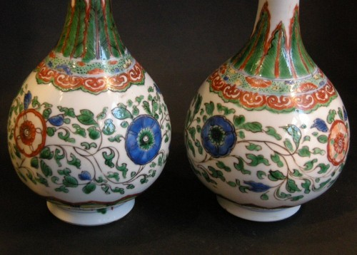 "Pair of bottles ""famille verte"" porcelain  - Asian Art & Antiques Style"