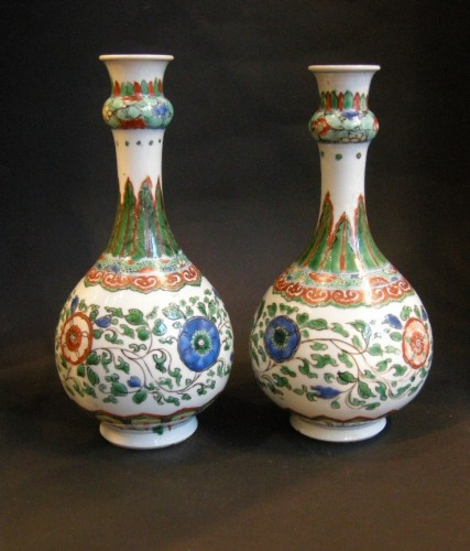 "Pair of bottles ""famille verte"" porcelain  -"