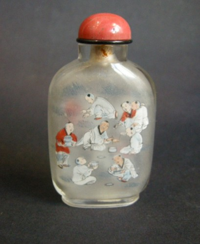 Asian Art & Antiques  - Inside painting glass snuff bottle Signed Zhou Shaoyuan 1905