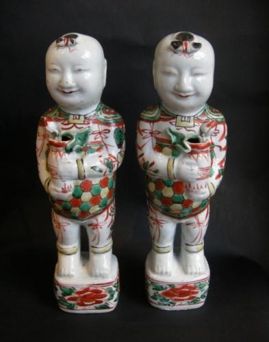 18th century - Pair of boys (Hehe erxian)  - Epoque Kangxi (1662-1722)