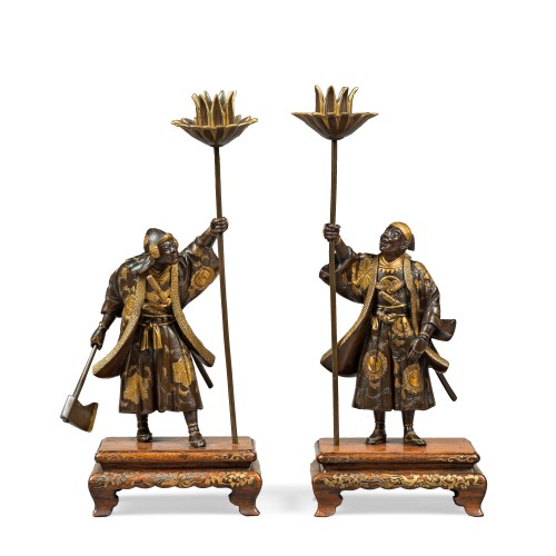 Pair of warriors bronze with gold - Japan signed miyao - Late 19th century