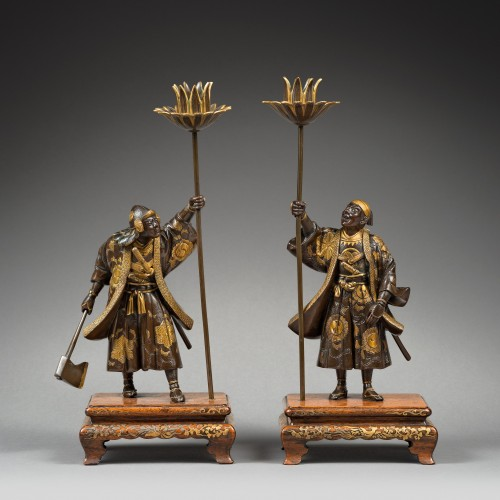 Pair of warriors bronze with gold - Japan signed miyao - Late 19th century - Asian Art & Antiques Style