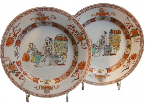 "Pair of plates porcelain ""famille verte"""