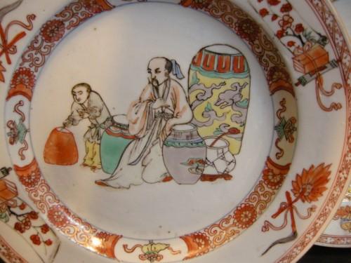 "Pair of plates porcelain ""famille verte"" - Asian Art & Antiques Style"