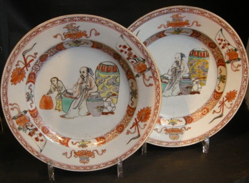"Pair of plates porcelain ""famille verte"" -"