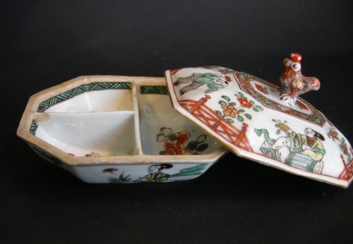 "Spice box porcelain ""famille verte"" Kangxi period 1662/1722   - Asian Art & Antiques Style"