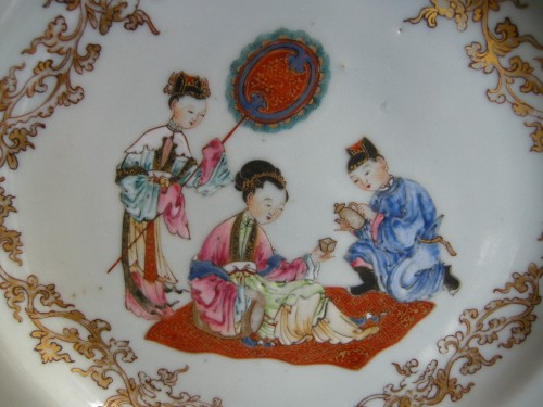 "Chinese porcelain ""Famille rose""plate - Yongzheng period 1723/1735 - Asian Art & Antiques Style"