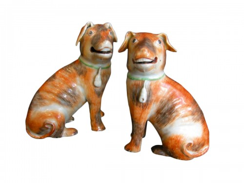 pair of European dogs chinese export -  about 1770