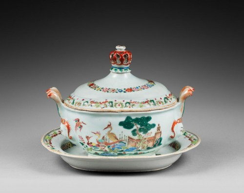 Tureen and stand porcelain Famille rose  - Qianlong period 1736/95 - Asian Art & Antiques Style
