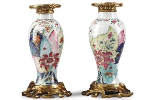 Pair vases porcelain tobacco leaf - Qianlong period 1736 1795