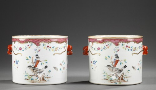 Pair wine coolers porcelain - Chinese export - 18° century -