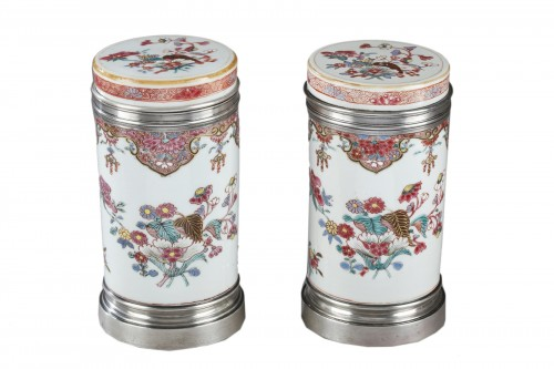 "Pair of box ""Famille Rose"" porcelain  - Qianlong period 1736/1795"