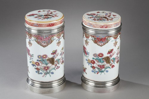 "Pair of box ""Famille Rose"" porcelain  - Qianlong period 1736/1795 - Asian Art & Antiques Style"