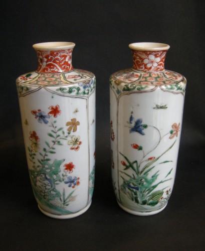 "Pair of vases ""Famille verte "" porcelain Kangxi period  (1662-1722) - Asian Art & Antiques Style"