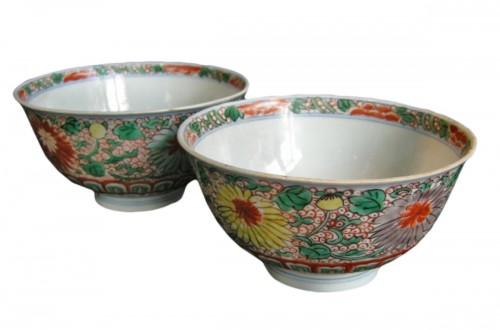 "Pair of Bowls  ""Wucai"" style   - Period Kangxi 1662/1"