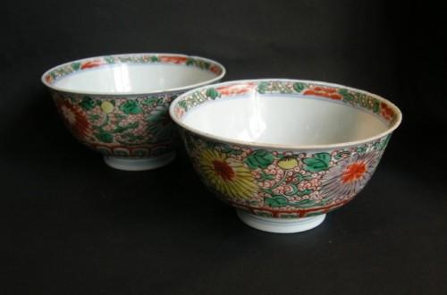 "Asian Art & Antiques  - Pair of Bowls  ""Wucai"" style   - Period Kangxi 1662/1"