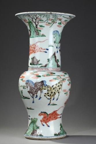 "17th century - Vase ""Yen Yen""  Famille verte porcelain - Kangxi period 1662/1722"