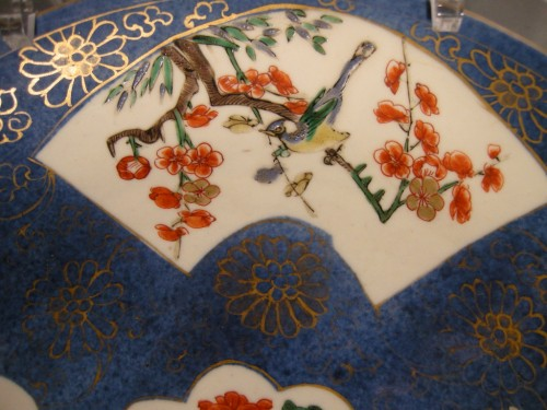 "Pair of dish ""Famille verte "" on bleu poudré ground -Kangxi 1662/1722 - Asian Art & Antiques Style"
