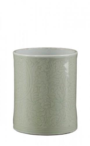 """Brushpot  (""""bitong"""")  celadon porcelain -  Kangxi 1662/1722"""