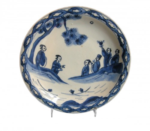 Dish porcelain blue and white  - Tianqi period 1621/1627 - Late Ming