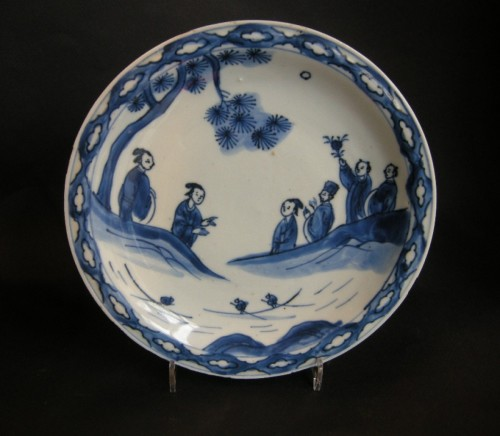 Dish porcelain blue and white  - Tianqi period 1621/1627 - Late Ming - Asian Art & Antiques Style