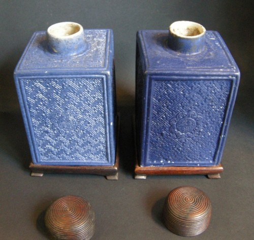 Pair porcelain tea box  - Jiaqing period 1796/1820 -