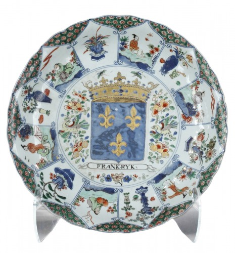 Rare dish to the coat of arms of the Kingdom of France  - Kangxi  period