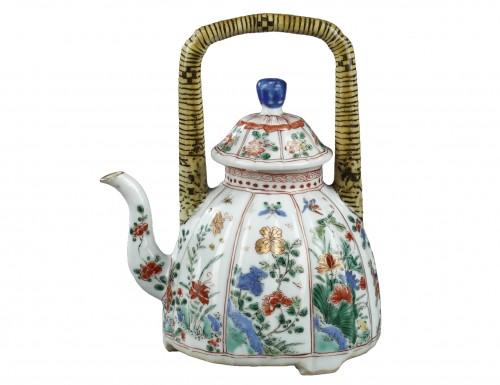 """Wine pot """"Famille verte"""" porcelain - Kangxi 1662/1722"""