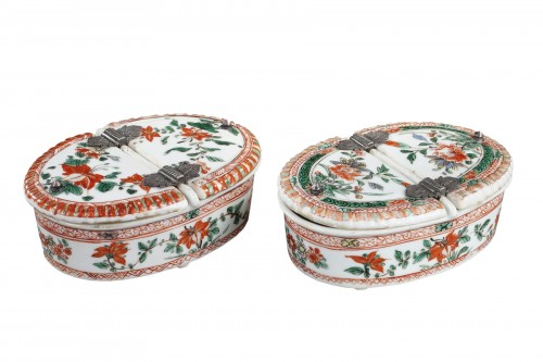 "Pair spice box porcelain ""Famille verte ""  - Kangxi period 1662/1722"