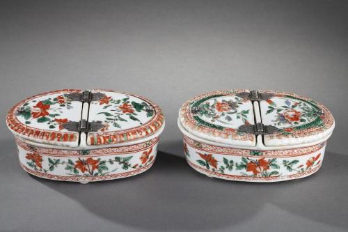 "Pair spice box porcelain ""Famille verte ""  - Kangxi period 1662/1722  - Porcelain & Faience Style"
