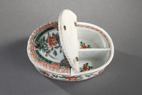 "Pair spice box porcelain ""Famille verte ""  - Kangxi period 1662/1722  -"