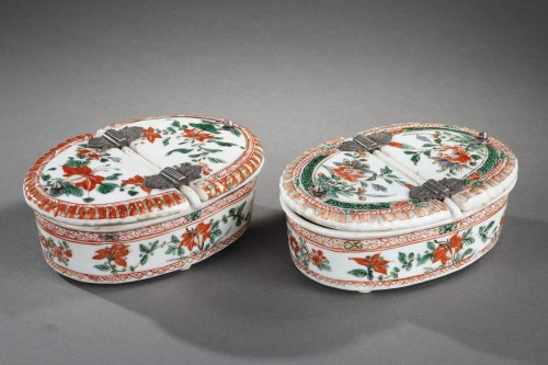 "18th century - Pair spice box porcelain ""Famille verte ""  - Kangxi period 1662/1722"