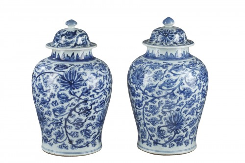 "Pair of vases  "" Blue and White"" porcelain -Kangxi period 1662/1722"