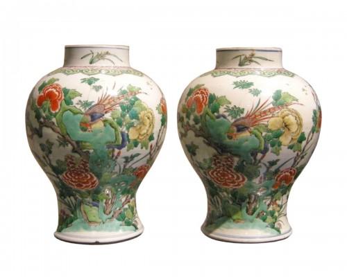 "Pair vases "" Famille Verte "" - Kangxi period 1662/1722"