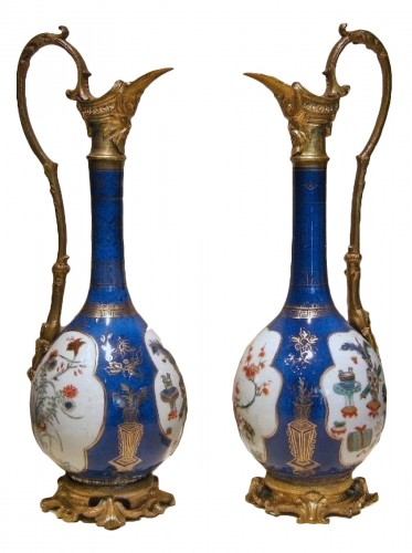 Pair of vases mounted in ewers - Kangxi period 1662/1722